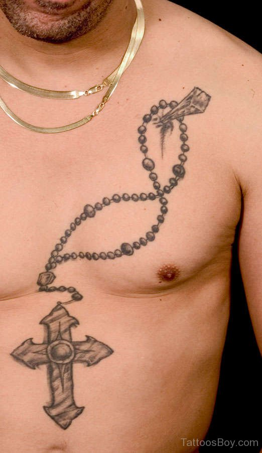 57d346fed Amazing Black And Grey Rosary Tattoo On Man Chest