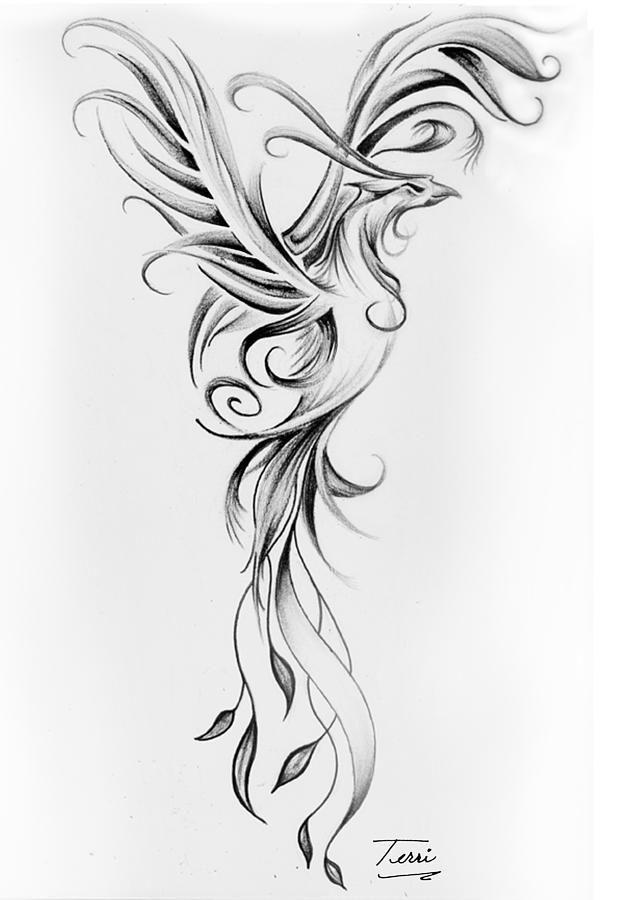 amazing flying phoenix tattoo design