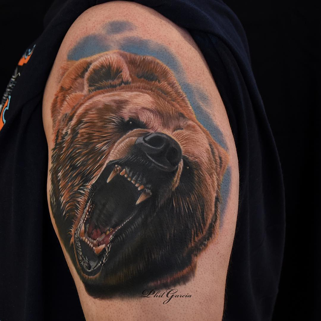 Angry Roaring Bear Tattoo On Left Shoulder by Phil Garcia