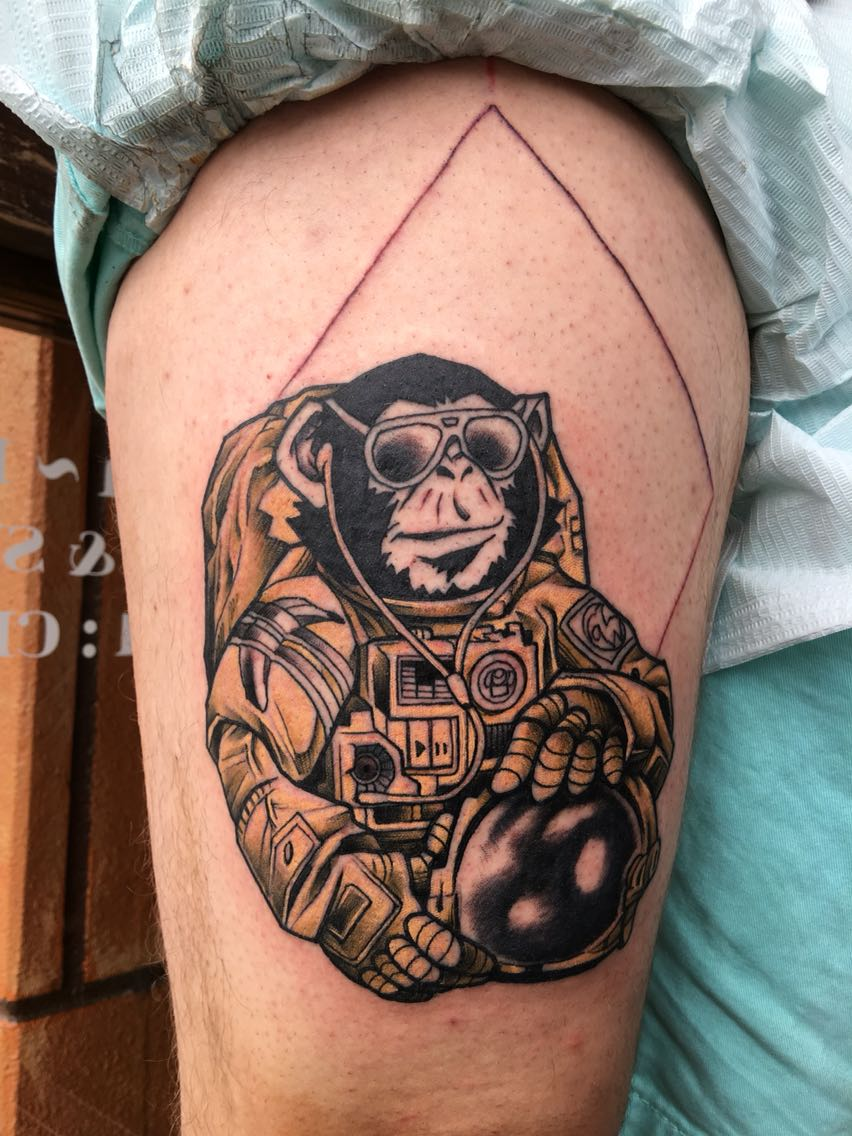 a4d5a2f76 Astronaut Monkey Tattoo On Thigh