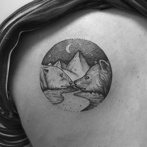 Bear Head Tattoos On Back Shoulder