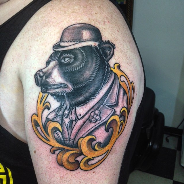 Bear Head With Hat Tattoo On Shoulder