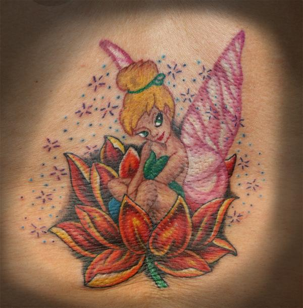 Beautiful Lotus Flower And Tinkerbell Tattoo