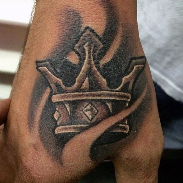Black And Grey Crown Tattoo On Right Hand
