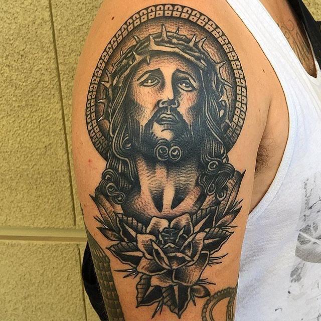 Jesus tattoo images designs for Tattoos of black jesus
