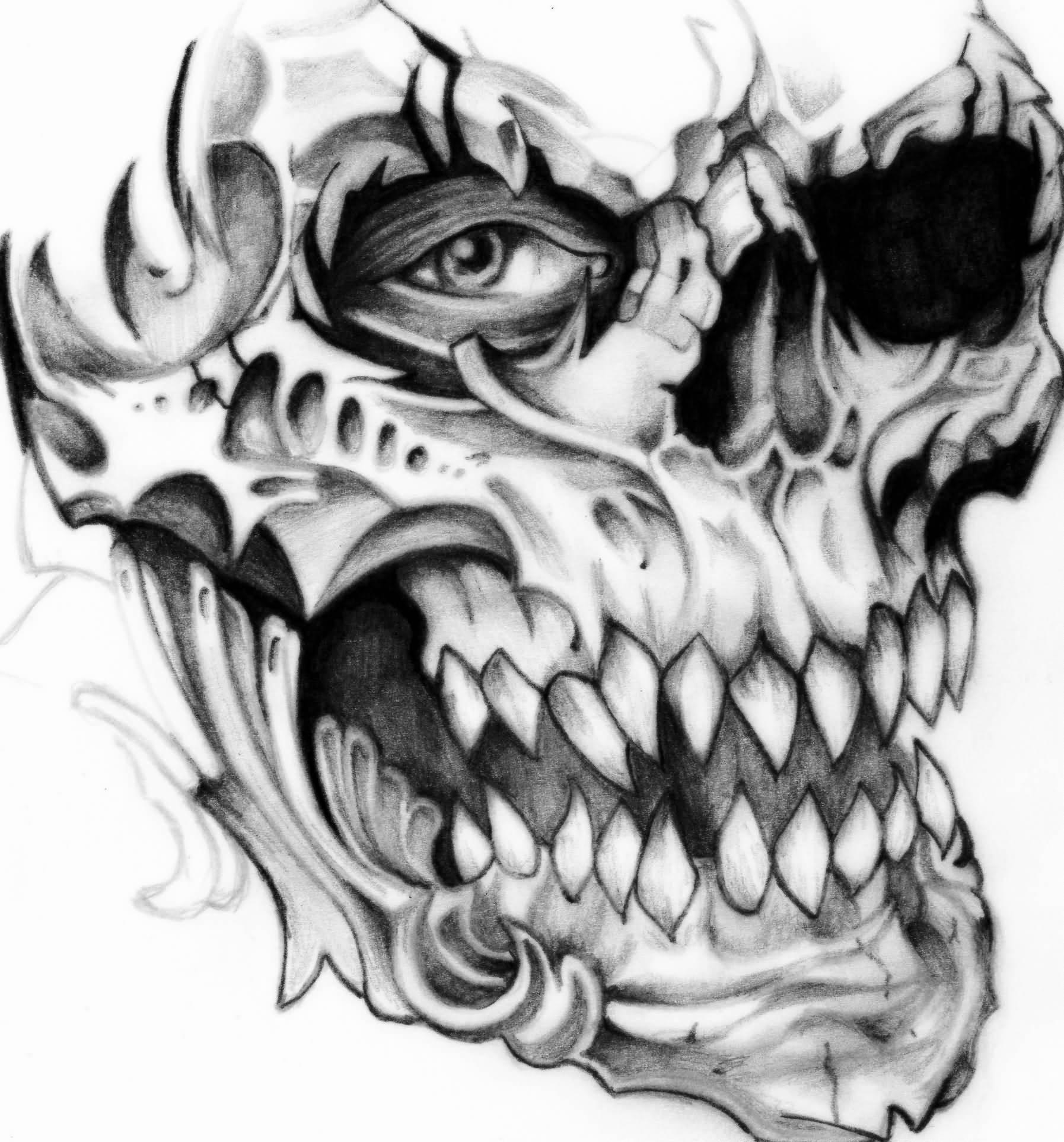 Pin on Trash polka tattoo   Black And Grey Skull Tattoo Designs