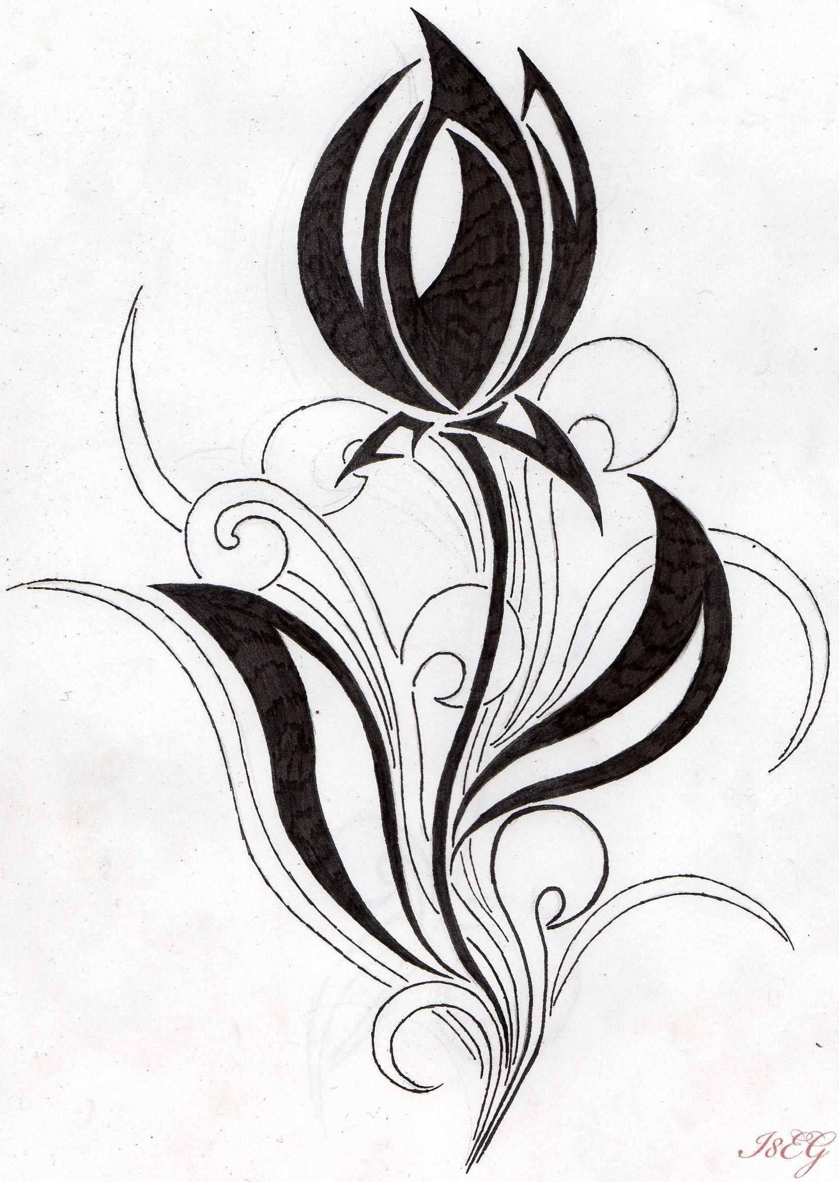 Awesome Black Tribal Tulip Tattoo Design