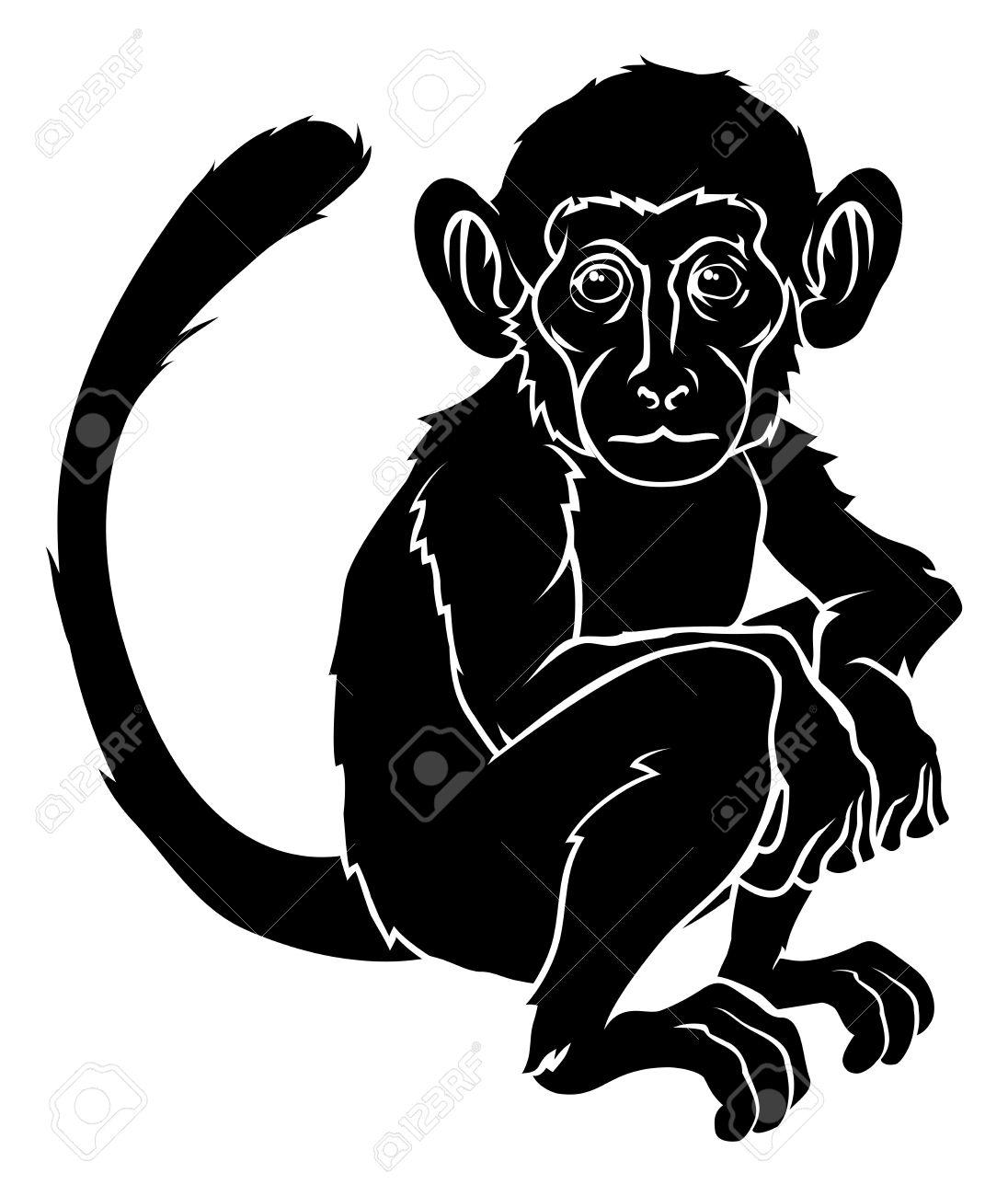 black silhouette monkey tattoo design. Black Bedroom Furniture Sets. Home Design Ideas