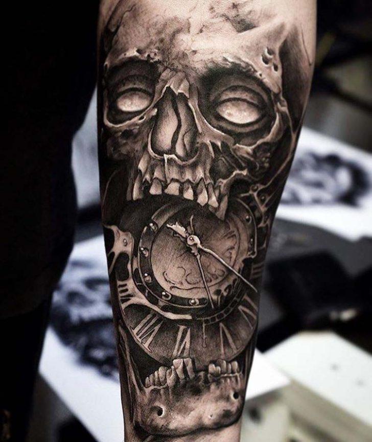 Clock And Skull Tattoo On Forearm By Mrkpajulen