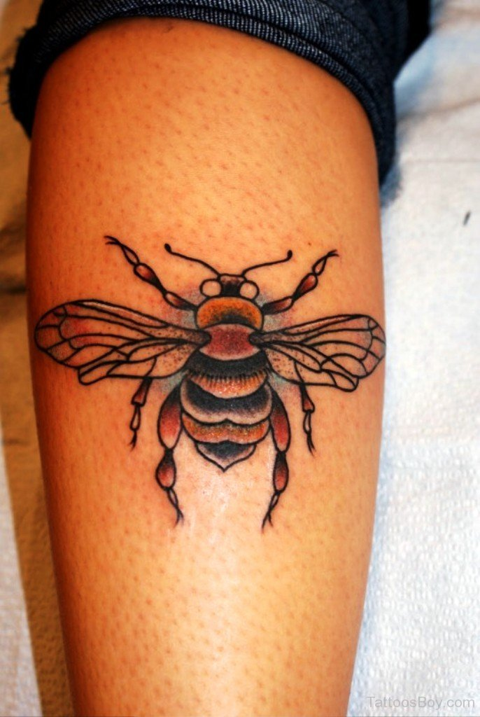 Color Ink Bee Tattoo On Leg