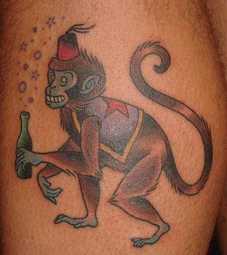 0a63160d13e47 Color Ink Monkey Tattoo On Right Back Shoulder