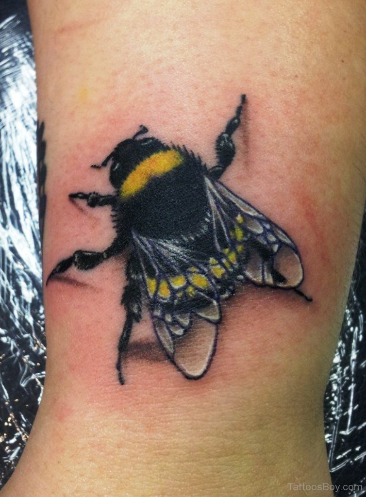 Colored Bumble Bee Tattoo