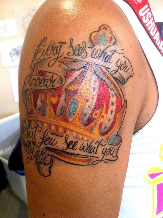 Colored Crown Tattoo On Right Shoulder