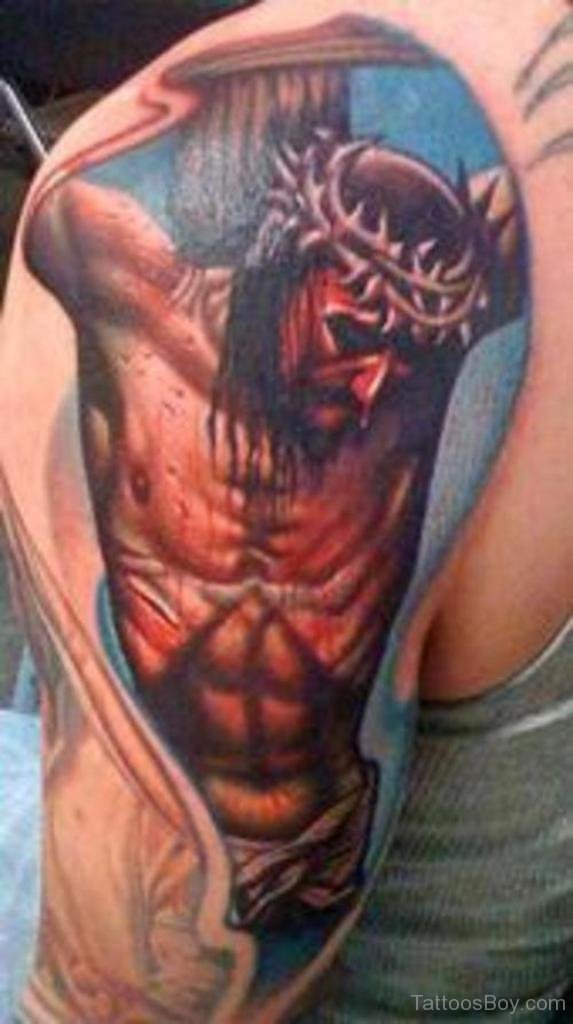 Colored Jesus Tattoo On Half Sleeve