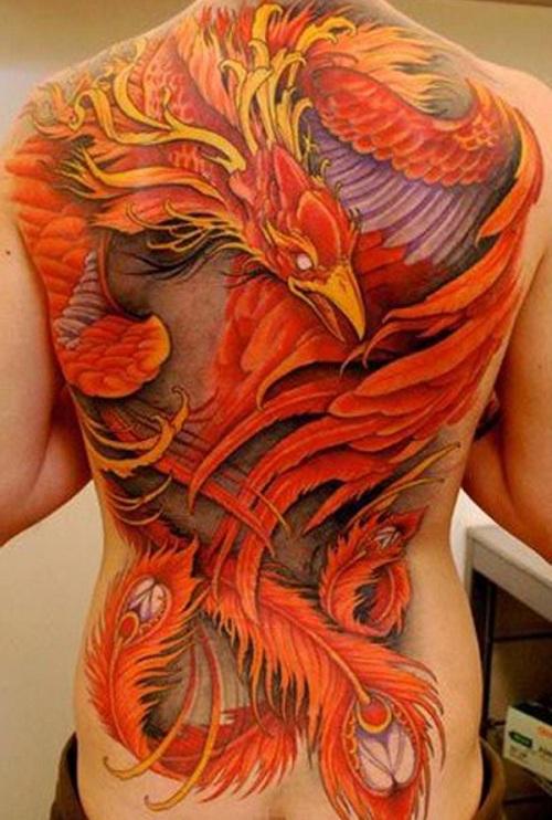 Colorful Phoenix Tattoo On Full Back