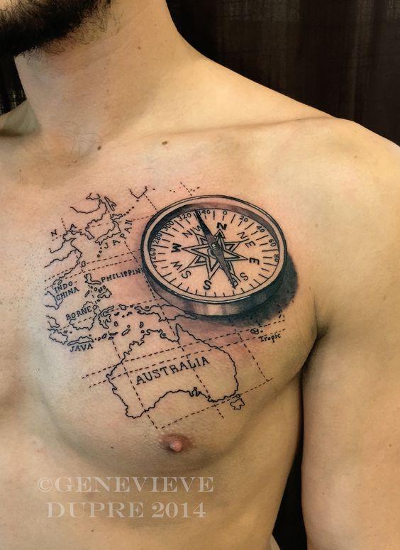 Boat Wheel And Compass Tattoo On Chest
