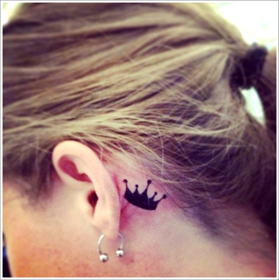 Crown Tattoo Behind The Ear