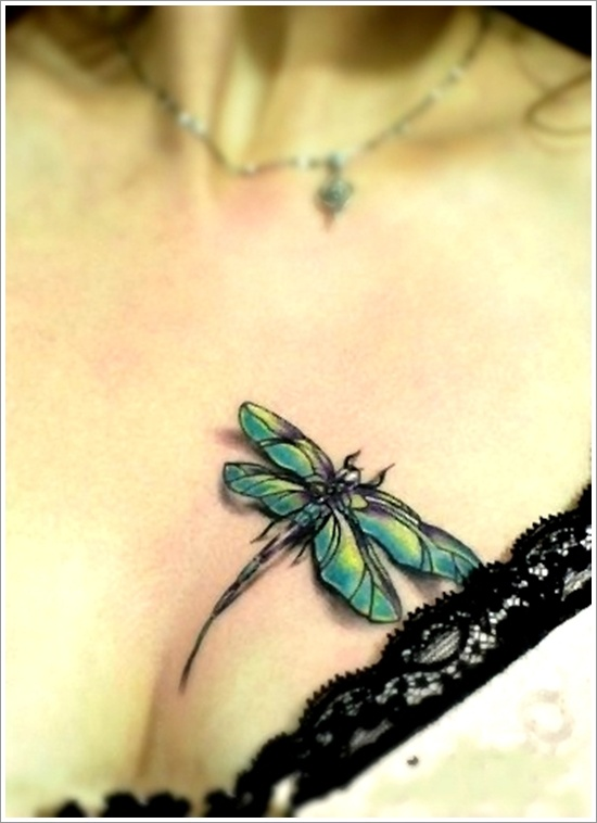 Dragonfly Tattoo On Girl Chest