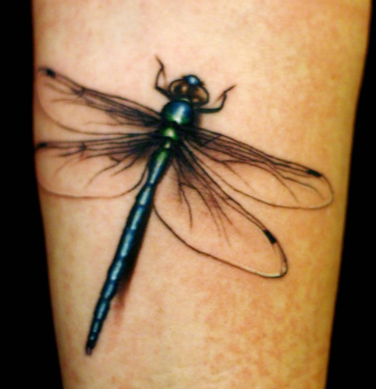 Dragonfly Tattoo On Right Bicep