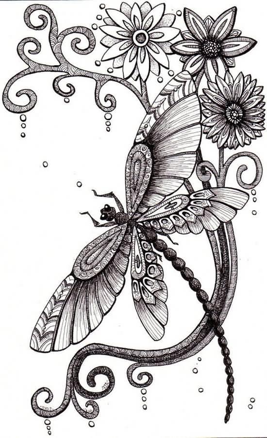 latest dragonfly tattoo design. Black Bedroom Furniture Sets. Home Design Ideas