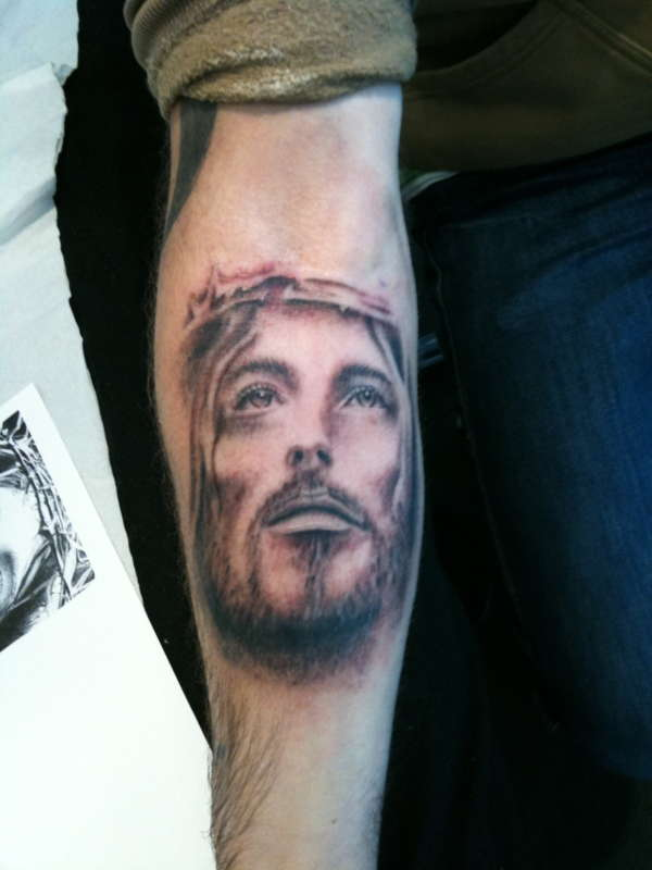 Forearm Grey Ink Jesus Tattoo