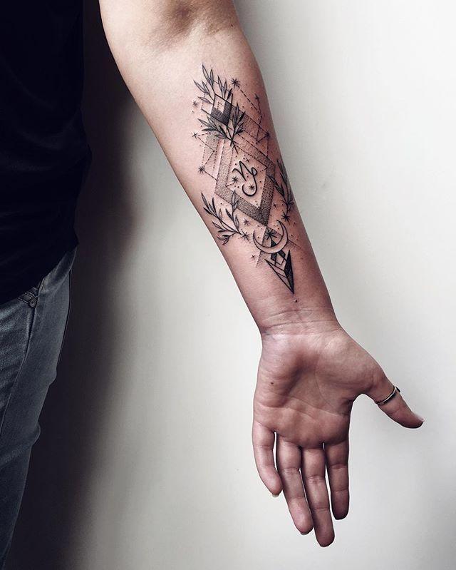 Geometric Tattoo With Capricorn Zodiac Symbol Tattoo On Forearm