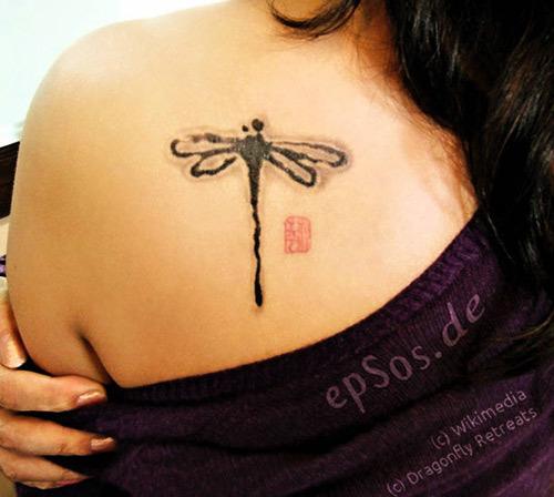 Girl Left Back Shoulder Dragonfly Tattoo