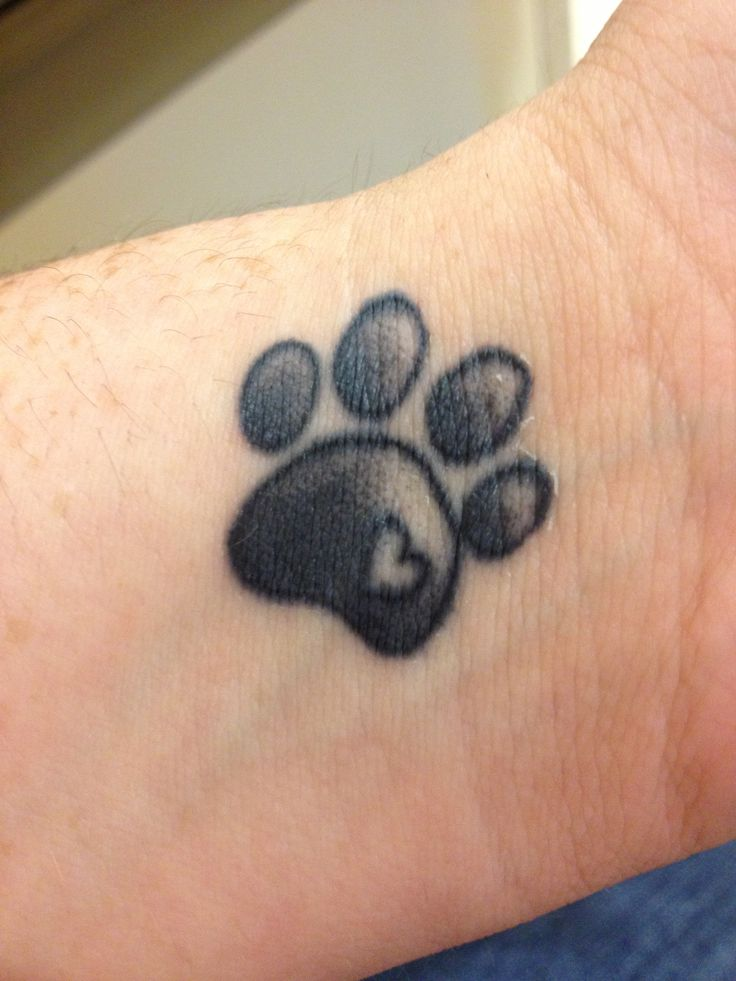 Grey And Black Paw Print Tattoo On Left Wrist