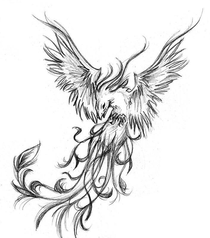 d4ff11ad4 Grey And Black Phoenix Tattoo Design