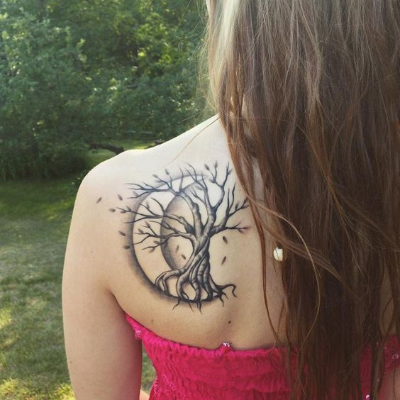 Tree tattoo images designs for Tree shoulder tattoo