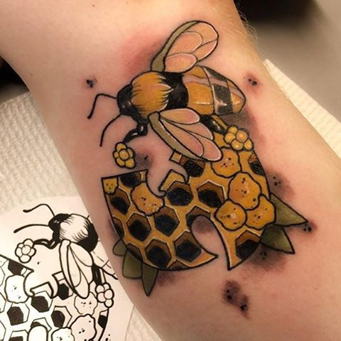 Honey Bee Tattoo On Arm by Jarret Livingston