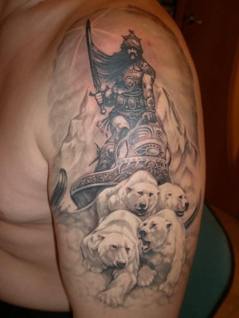 Incredible Sleeve Tattoo: Incredible Warrior On Polar Bears Tattoo On Half Sleeve