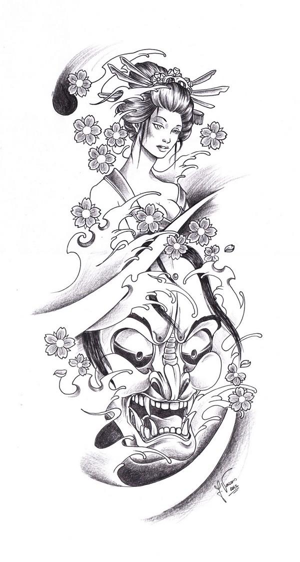Japanese Flowers And Geisha Girl Tattoo Design