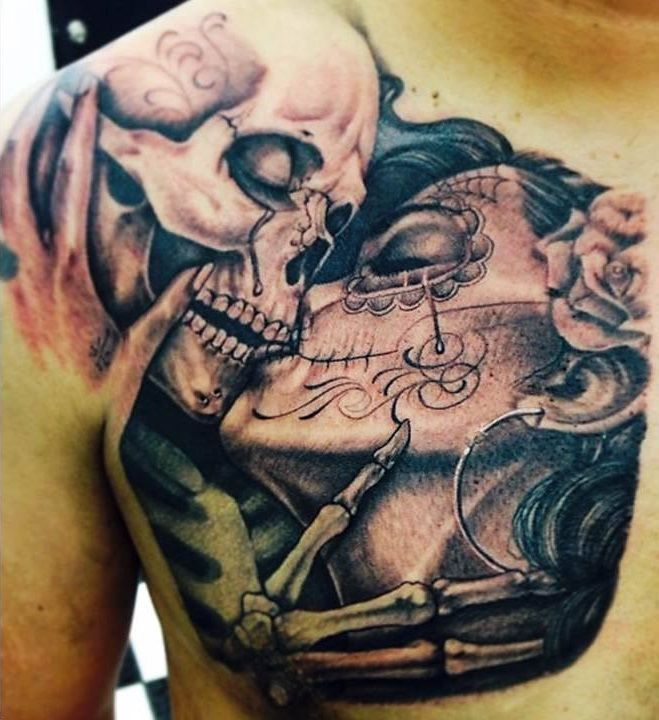 Kissing Skull Tattoo O... Skull And Flower Designs