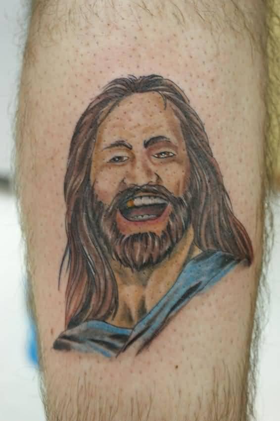 Laughing Jesus Tattoo On Arm