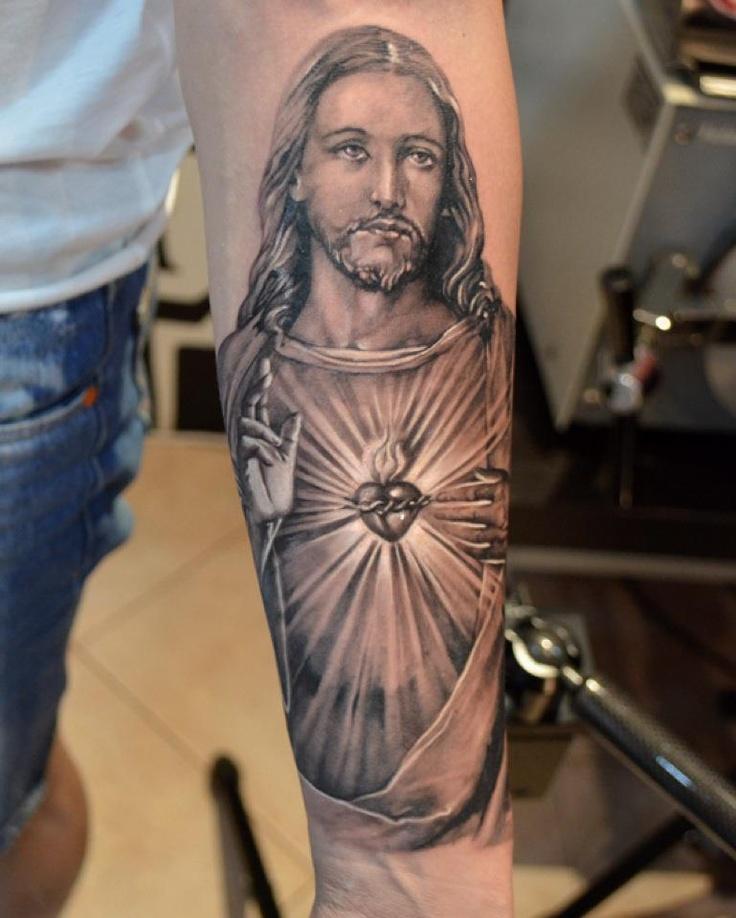 Left Forearm Grey Ink Jesus Tattoo