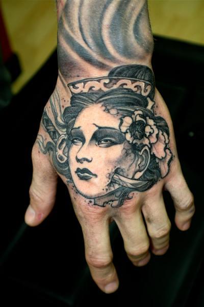 Left Hand Geisha Tattoo On Left Hand