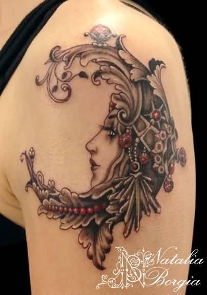 Left Shoulder Girl Face Moon Tattoo Idea