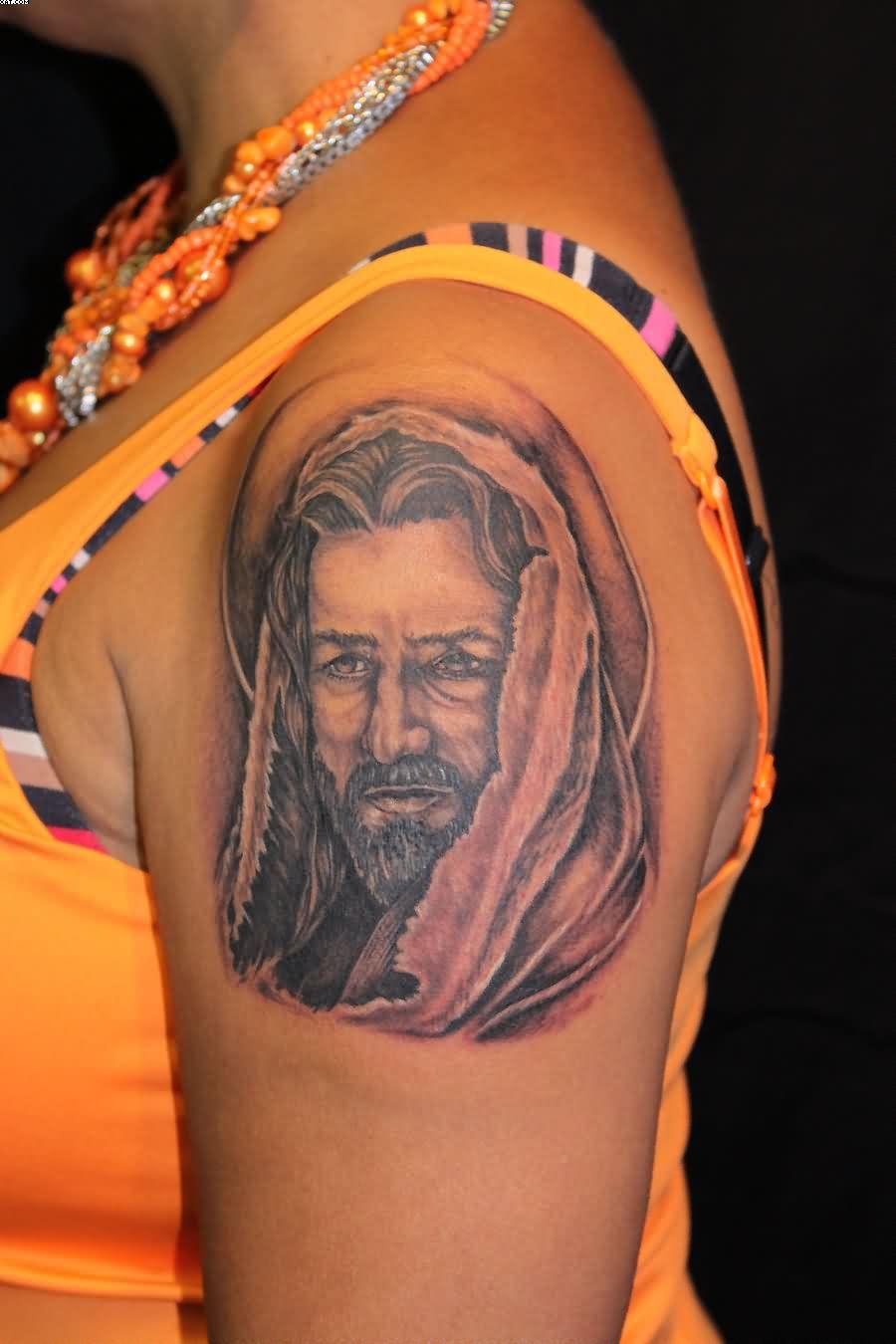 Left Shoulder Jesus Tattoo For Girls
