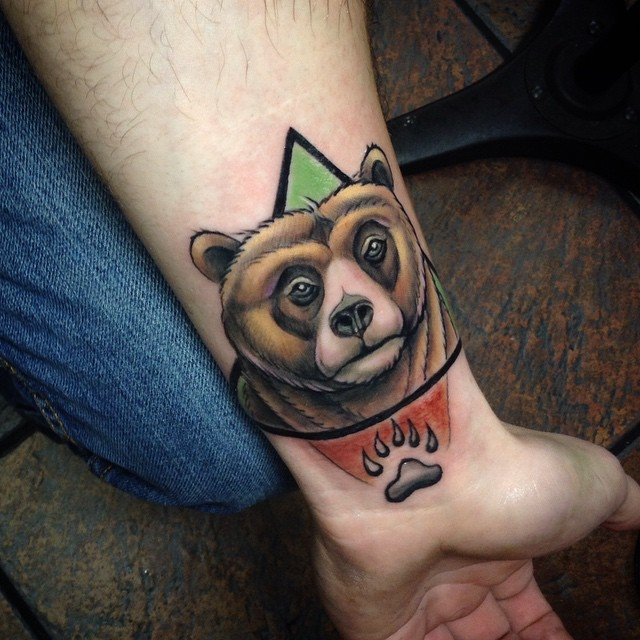 Left Wrist Bear Head And Claw Tattoo On Forearm
