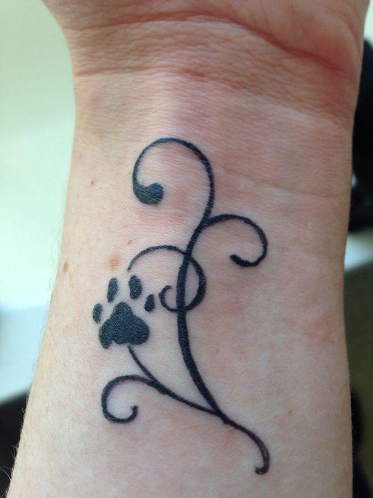 Dog Paw Tattoo On Wrist