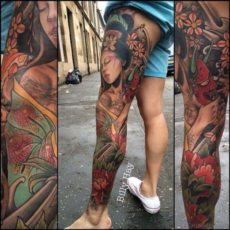 Leg Sleeve Geisha Tattoo