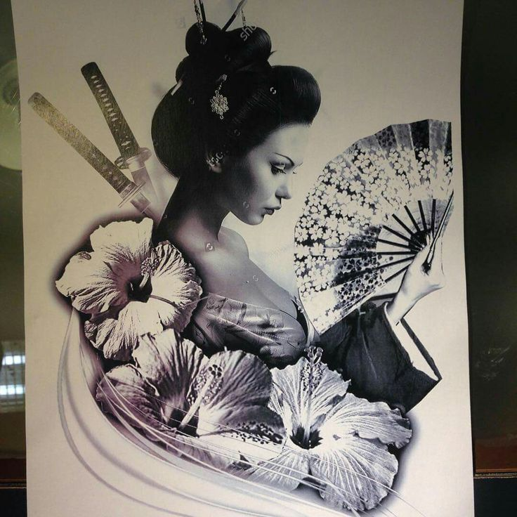 Lily Flowers And Geisha Tattoo Design
