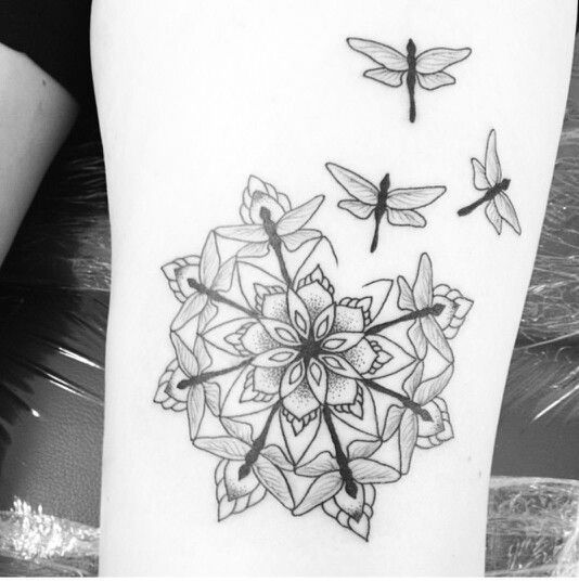 Lotus Flower Tattoo With Dragonfly: Dragonfly On Lotus Flower Tattoo Design