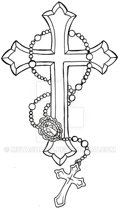 Outline Cross Rosary Tattoo Design Sample