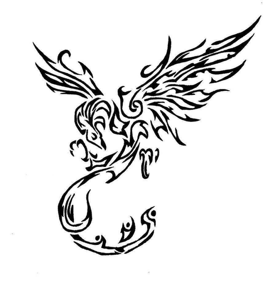 Outline Tribal Phoenix Tattoo Design Sample