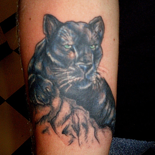 Panther Face Tattoo On Arm