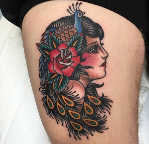 Gypsy tattoo images designs for Traditional peacock tattoo