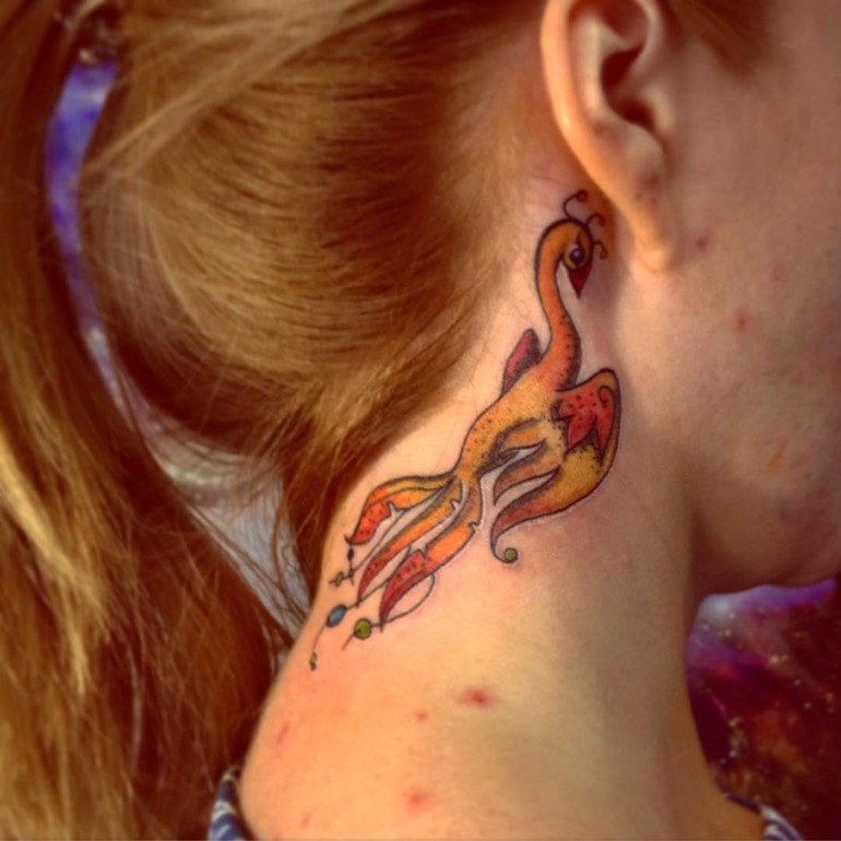 Phoenix tattoo images designs for Phoenix neck tattoo