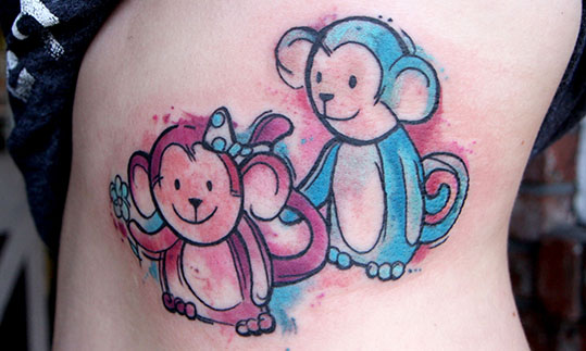 81899ea7181f3 Purple And Blue Ink Monkey Tattoo On Shoulder